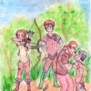 The hunting party who capture Torak (Wolf Brother)